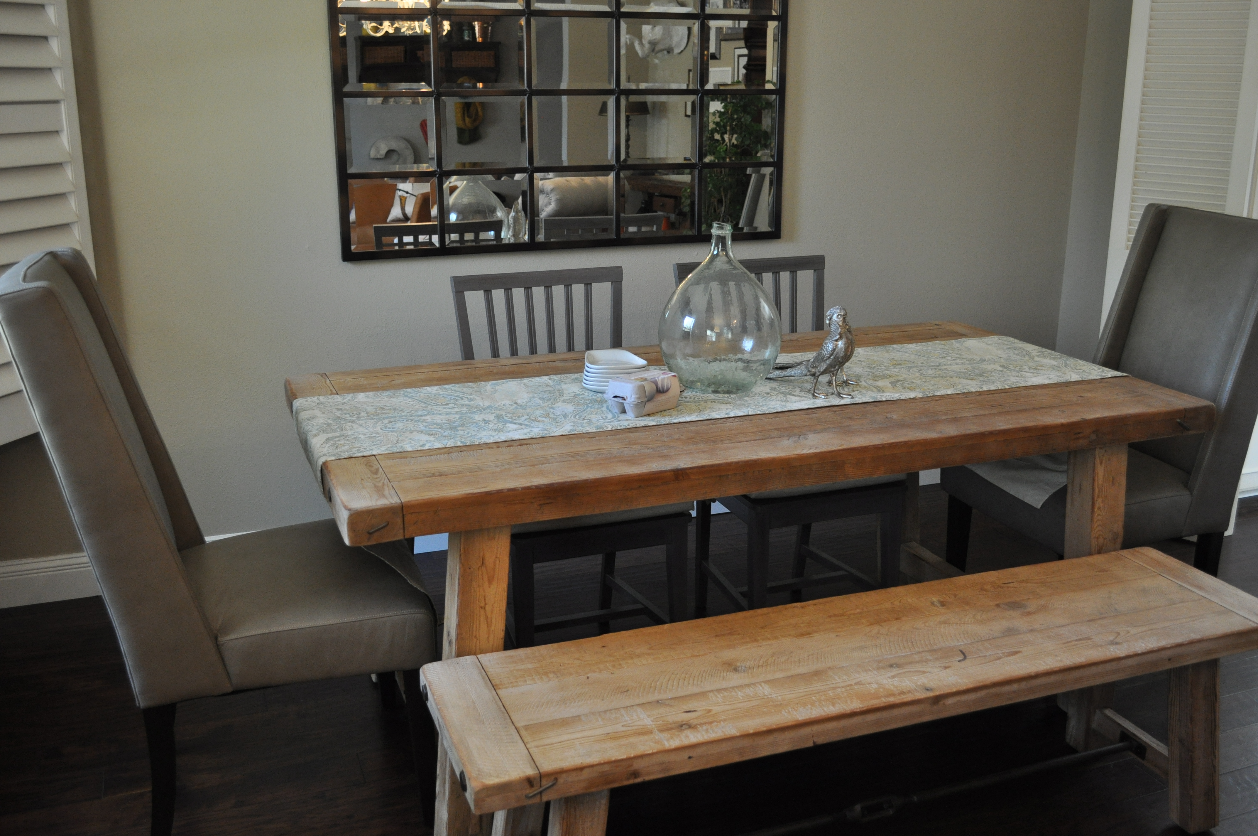 Dining Room Table Bench with Back